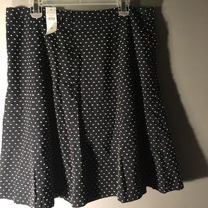Loft Polka Dot Black Skirt Sz 14 NWT